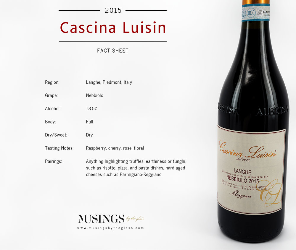 Musings by the Glass - Vino Pairing Optimization - 2015 Cascina Luisin Langhe Nebbiolo Fact Sheet