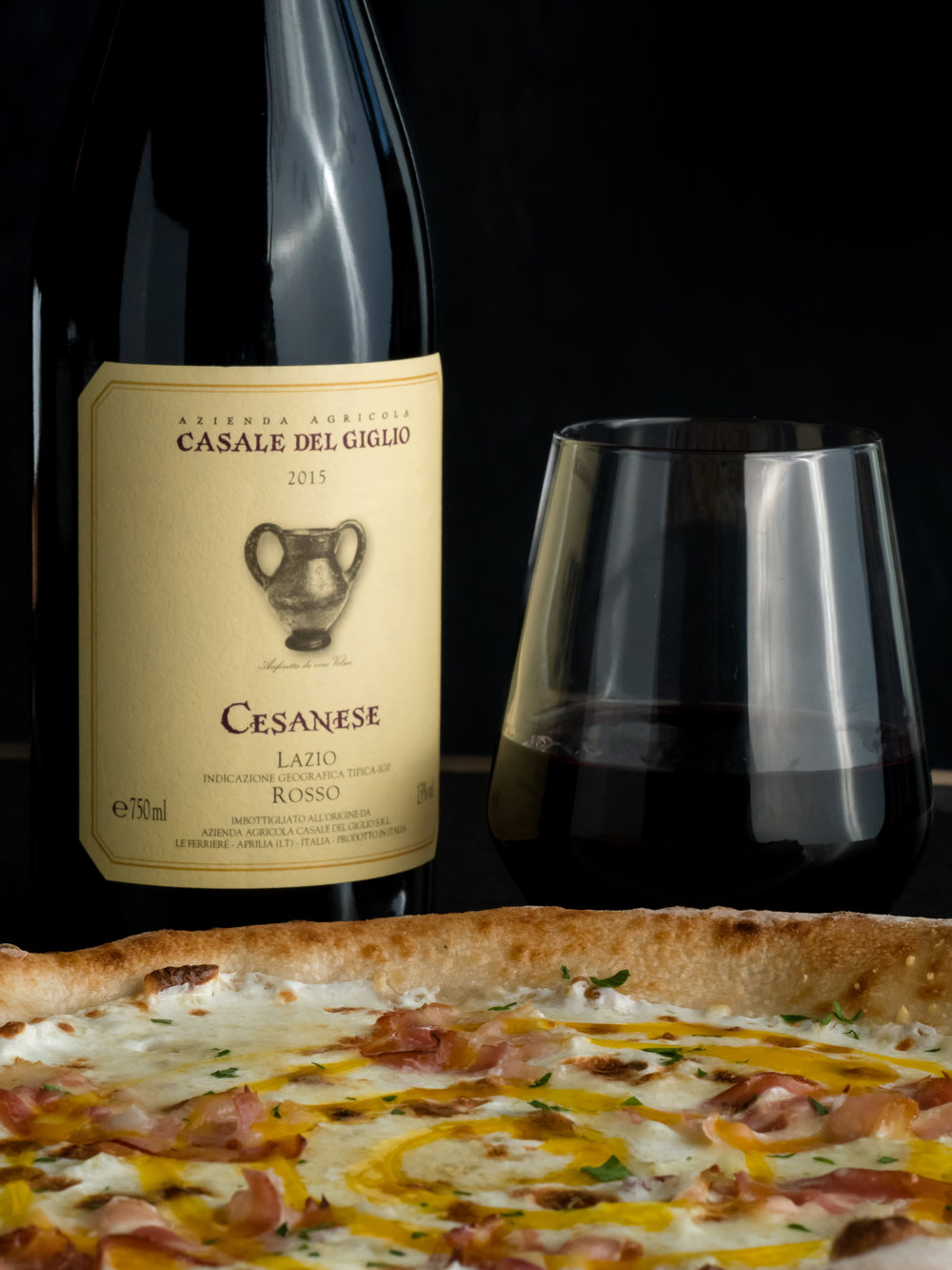 Musings by the Glass - Pizza and Wine Pairing Expansion - Carbonara Pizza and Cesanare Wine at Brick Fire Tavern in Honolulu