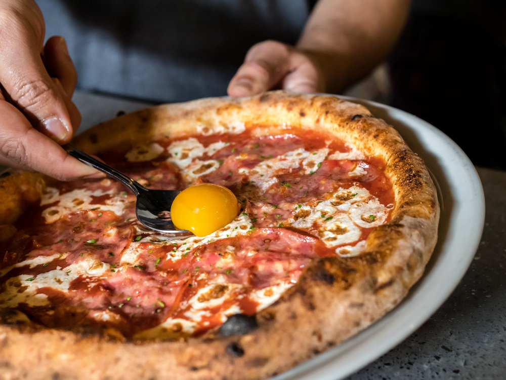 Musings by the Glass - Pizza and Wine Pairing Expedition - Pepperoni Pizza and Egg Yolk at Brick Fire Tavern in Honolulu