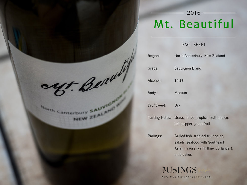 Musings by the Glass - The Pineapple-Kiwi Combination - Mt. Beautiful Sauvignon Blanc Fact Sheet