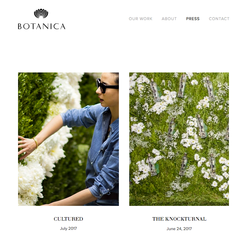 Botanica inc. - Event & Floral Design company located in New York City, designing noteworthy exhibitions and events for Manhattan's elite.Services Provided:Web Design