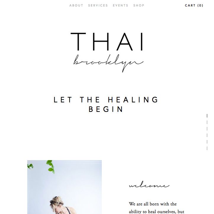 THAI BROOKLYN - Thai Yoga massage therapy services, product shop and certification program by beloved therapist to Val Kilmer.Services Provided:Branding (main & certification program), Web Design