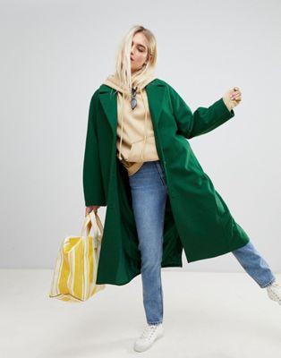 7.  ASOS Weekday Wool Coat in Bottle Green  - $174