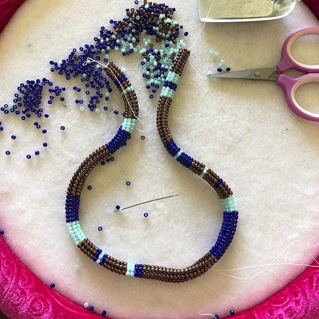 Update on my #ndebele beadwork. I'm so in love with this stitch. . . . . . . . . . . . . . . . . . . . #Washingtonartist #seattle #pnwartist #seattleartist #africanamericanart #africanart #orisha #beadwork #seedbeads #sacredart #africanamericanart #blackart #blackgirlmagic #artistofinstagram  #narrativeart #beads #contemporaryart #jewelry #beadersofinstagram  #seattleartists #sacredart #beadembroidery #beadwork