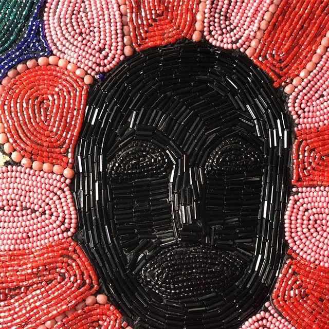 "Work in progress on one of my Flower Folk. This is on 12"" by 20"" . . . . . . . . . . . . . . . . . . . . . . . . . #Washingtonartist #seattle #pnwartist #seattleartist #africanamericanart #africanart #orisha #beadwork #seedbeads #sacredart #africanamericanart #blackart #blackgirlmagic #artistofinstagram  #narrativeart #beads #contemporaryart #jewelry #beadersofinstagram  #seattleartists #sacredart #beadembroidery #beadwork #ancestors  #ancestralart"