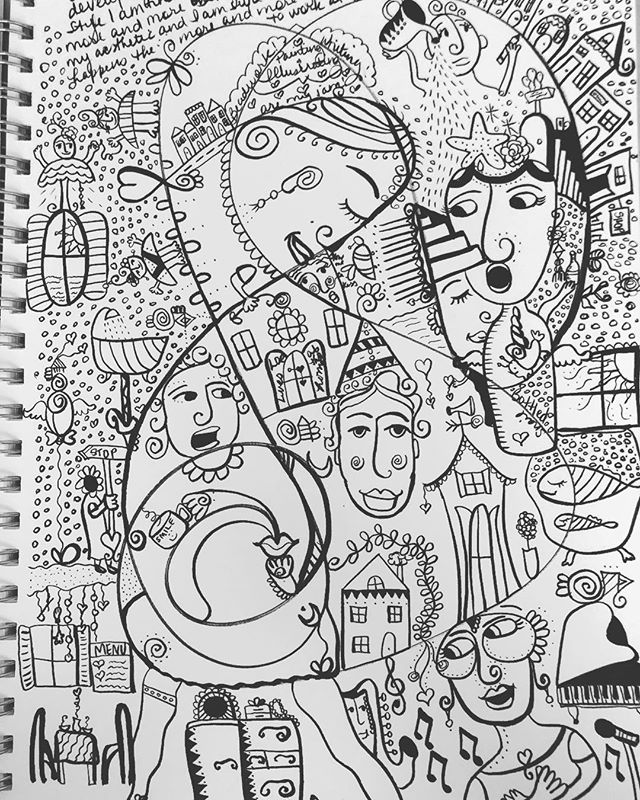 It's been a crazy summer. Dealing with so many things but allowing art to truly step in and heal me has been the brightest blessing. After a traumatic incident that happened in June I was in a bad place but my friends, family, and art community showed me the power of empathy and vulnerability. Lately my sketchbook has been holding fragments of whimsical ideas I have long held back.  Now my intention is to not only to create beauty in the world but also to channel joy through my work. 💕 These sketches serve as a springboard for my intentions. 😊 . . . . . . . . . . . #sacredart #healingart #surrealism  #worksonpaper  #contemporaryart  #molotowmarkers  #visionaryart  #wip #illustrationartists  #illustrationart  #pnwartist #sketchbook