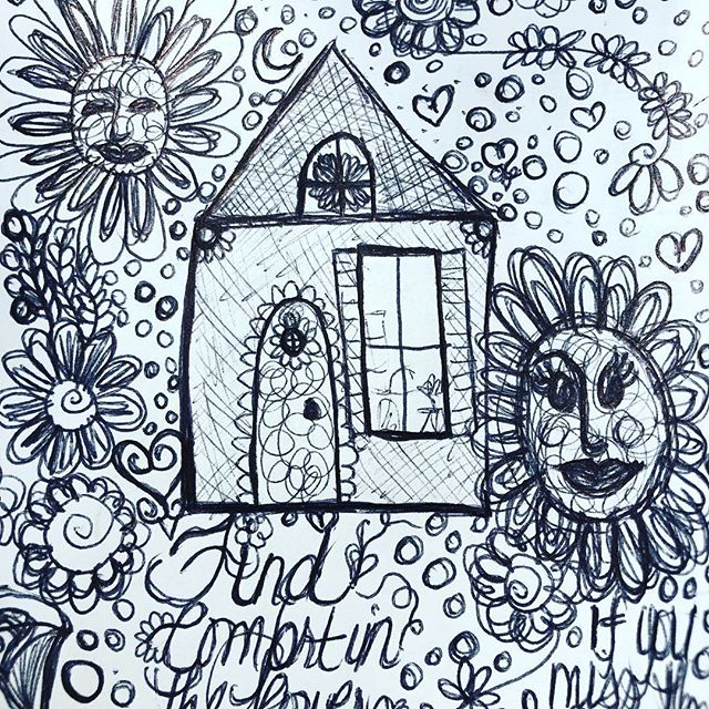 Sharing pages of my sketchbook. I always love the little folk houses growing up in a small town myself it reminds me of home. . . . . . . . #seattleartist  #folkart  #sketchbook  #tinyhomes #illustration #worksonpaper