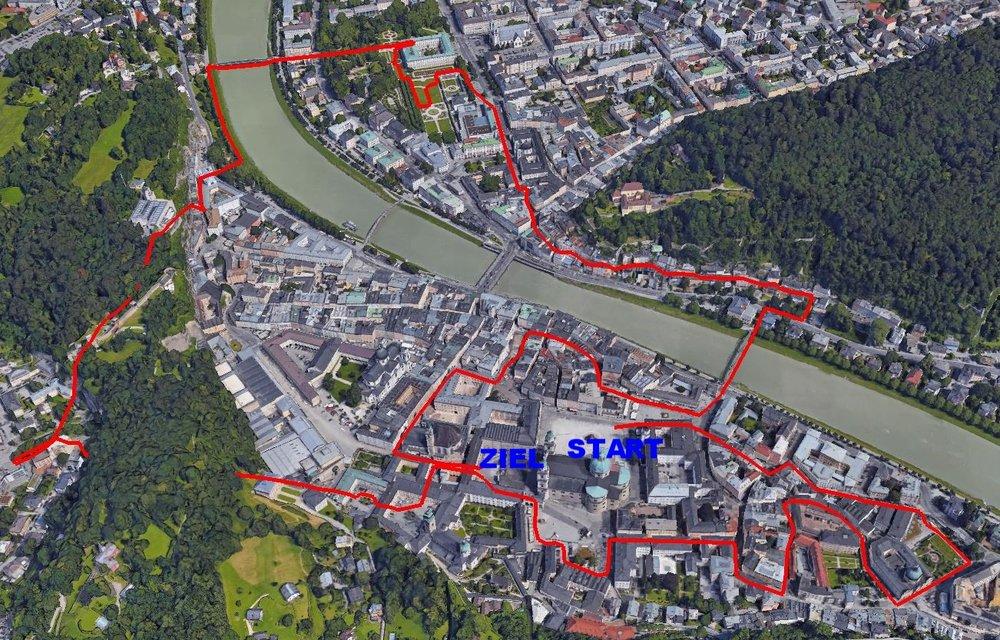 Die klassische Salzburger Businesslaufstrecke 5,5 km
