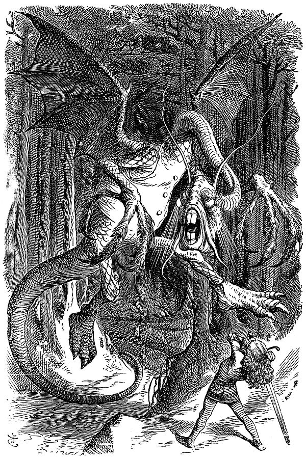 The Jabberwock, as illustrated by  John Tenniel  - I love this original depiction of Alice