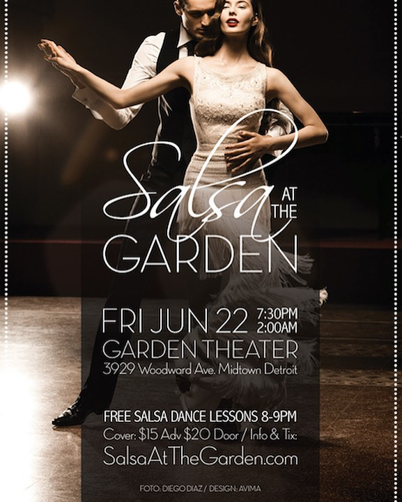 "Hola everyone ! Below is an event I am co-producing this Friday June 22nd at the historic Garden Theatre. Free salsa dance lessons are from 8 to 9pm with two very seasoned instructors. Tonia Deliz and Daryl Carrington  after one hour will leave you with basic knowledge to make some serious salsa moves. From 9 to 10pm we have 4 dance studios competing for $150 prize and bragging rights to ""Best Formation Dance Group"". This will be great fun to watch and the dance floor opens up at 10 until 2pm with DJ Sabor spinning salsa, merengue and bachata . Please see the website for tickets salsaatthegarden.com  #detroit #detroitpartyscene #salsaatthegarden"