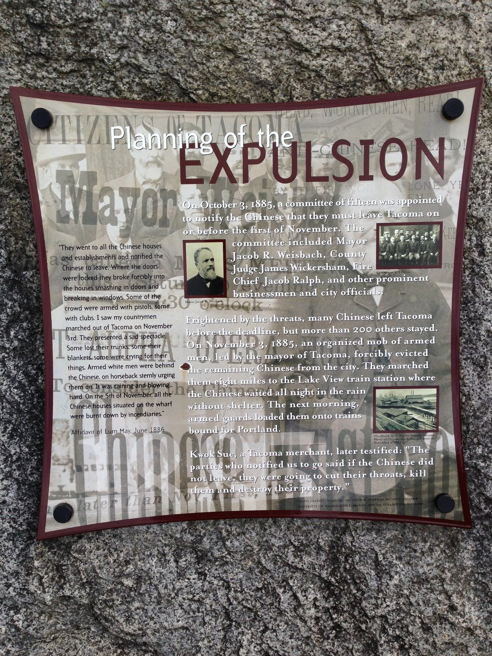 Plaque detailing the Tacoma Expulsion of 1885. Cesare Bigolin.