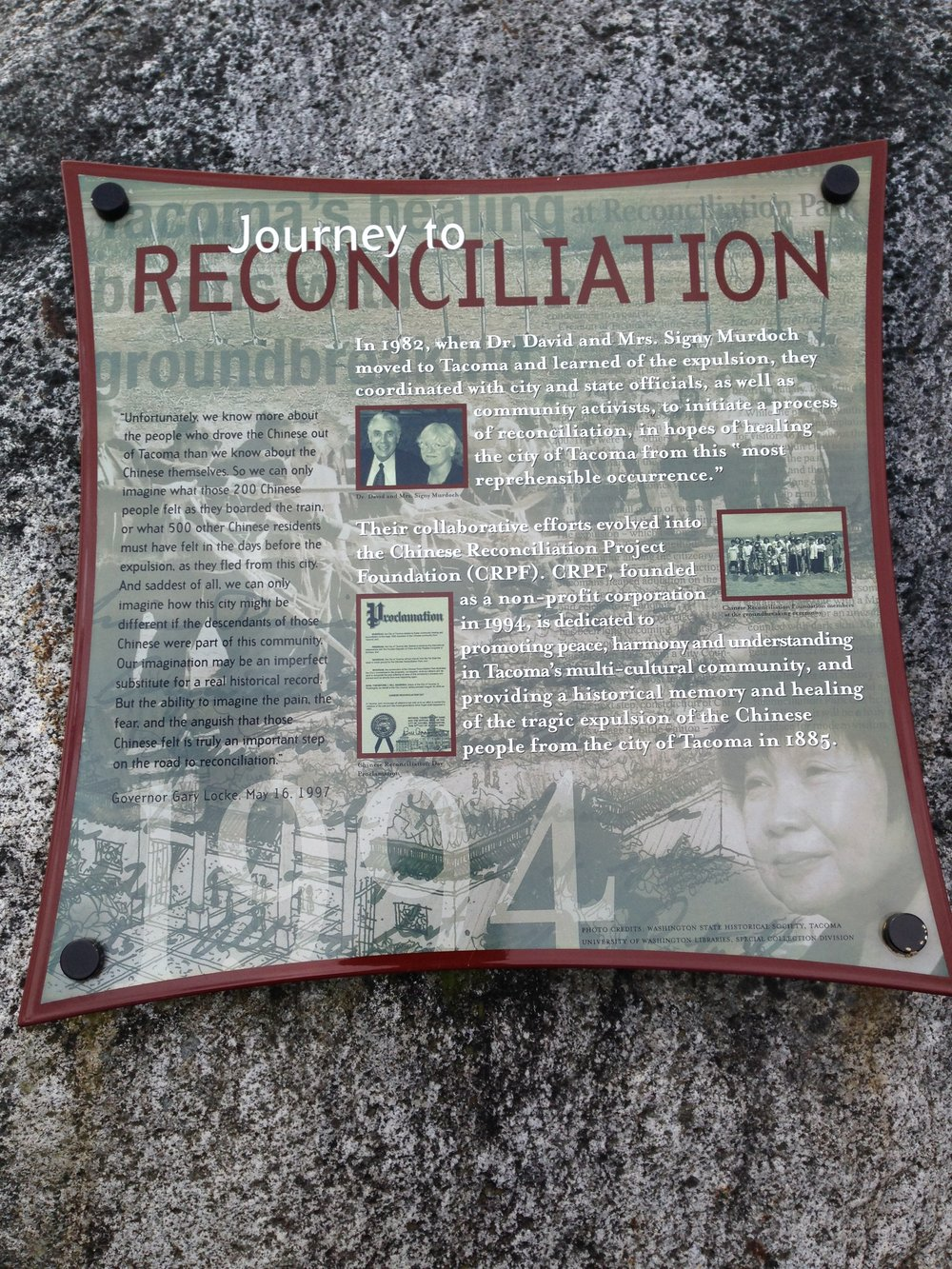 Plaque detailing the Reconciliation process and the construction of Reconciliation Park. Cesare Bigolin.