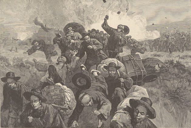 Thulstrup de Thure's depiction of the 1885 Rock Springs Massacre which appeared in  Harper's Weekly.   Wikimedia Commons .
