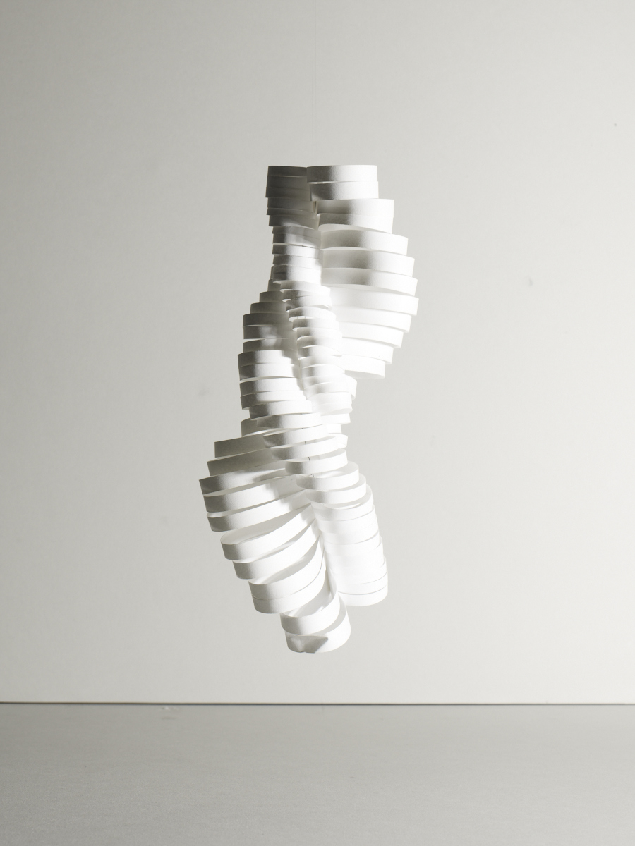 2nd model. Making sculptures of A4 paper. This has turned into a series of spiral mobiles of different materials. Image:  Michael Bodiam.