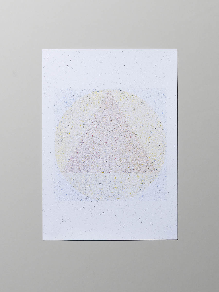 Speckled painting of primary colours and simple goemetric shapes. Photo:  Michael Bodiam.