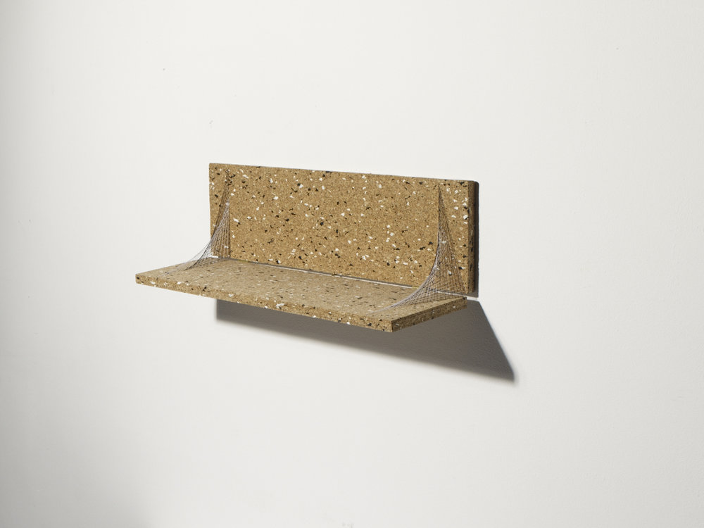 Collapsible shelf held by string. Photo:  Michael Bodiam.