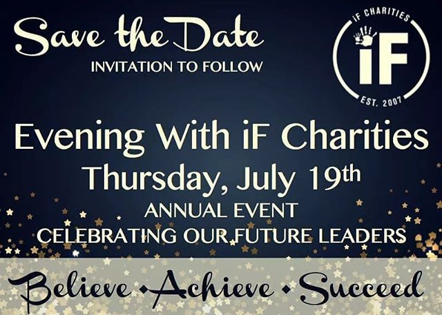 SAVE THE DATE! We are less than a month away from our Annual fundraiser event - mark your calendars! For more information and to purchase tickets, visit https://ifcharities.org #believe #achieve #succeed