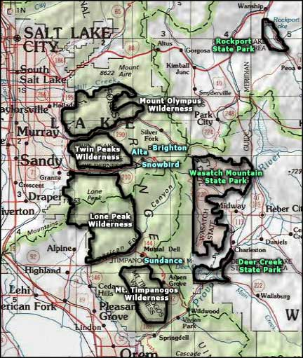 National Geographic Topo Map showing Twin Peaks and Lone Peak Wilderness Areas adjacent to LCC Hwy 210.