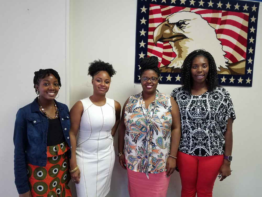 The officers of the WCYD after being sworn in. 12 Jun 2017 (Left to right) BreAnna VanHook, Debony Jones, Trevoria Jackson, Chadaya Hicks.