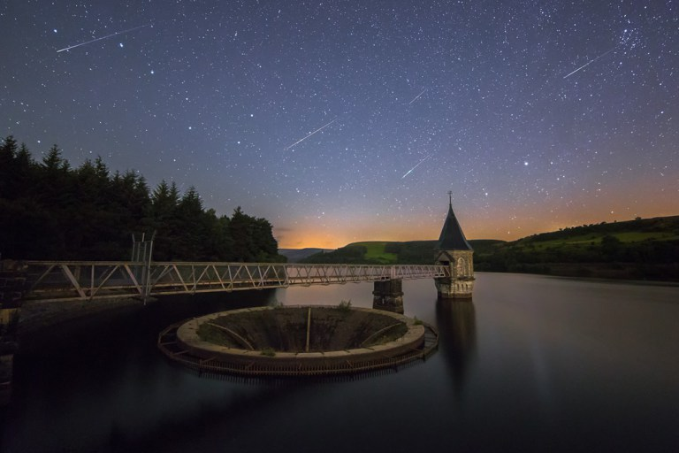 Perseids meteors over Pontsticill Reservoir, Brecon Beacons