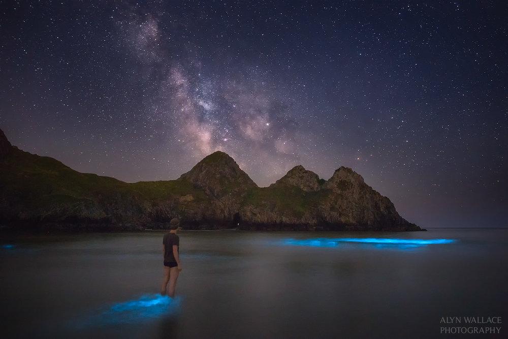 Bioluminscent plankton at Three Cliffs Bay, Swansea