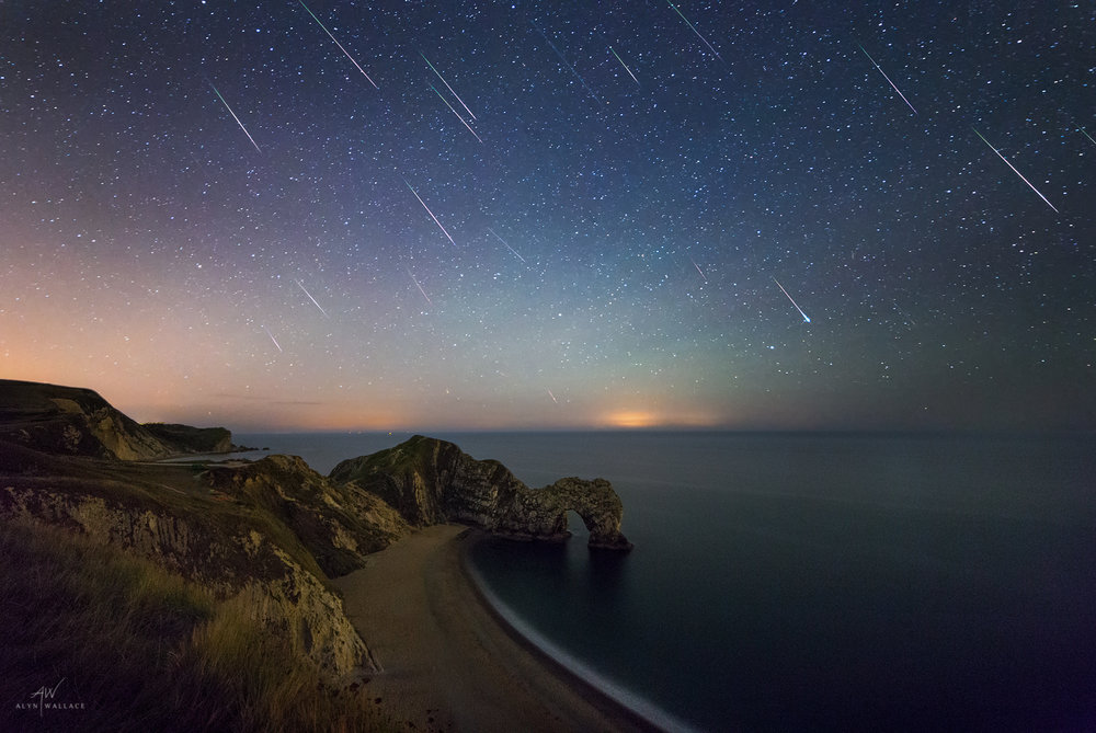 A 2-hour collection of Perseid's above Durdle Door from the night of the peak