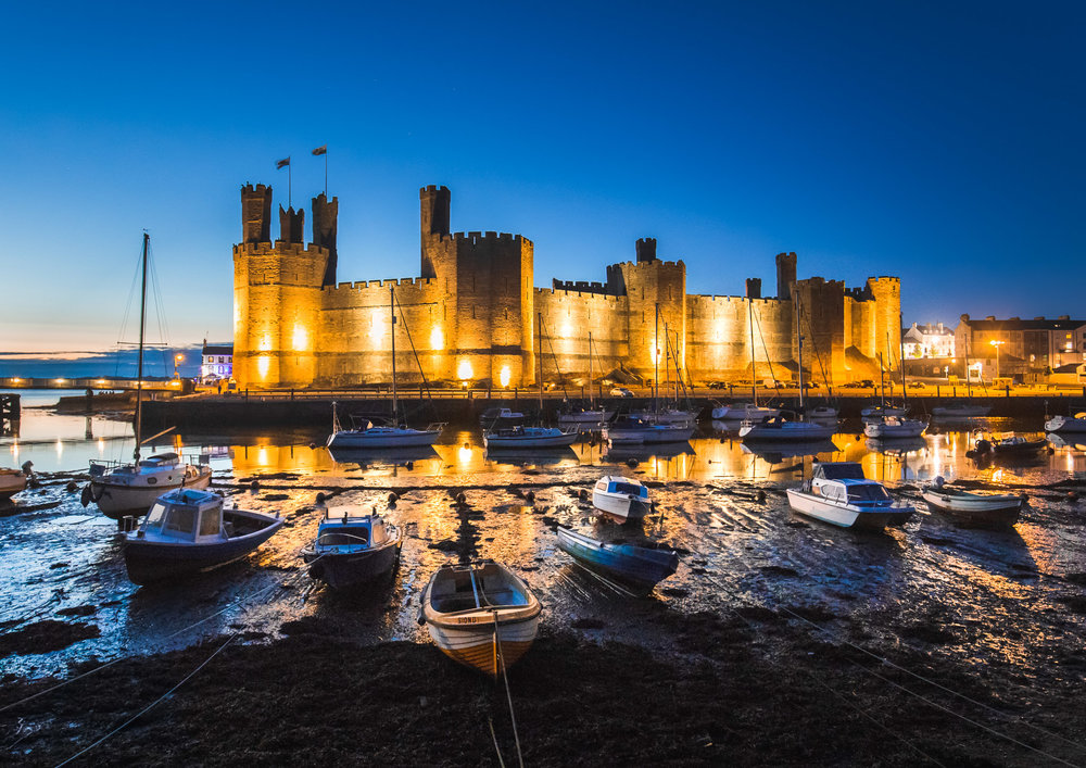 Caernarfon Castle in the Blue Hour