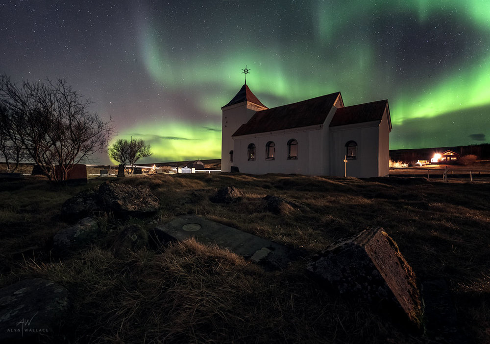 A church we found through the CampEasy tablet that came with the van. Just in time for our first show of northern lights