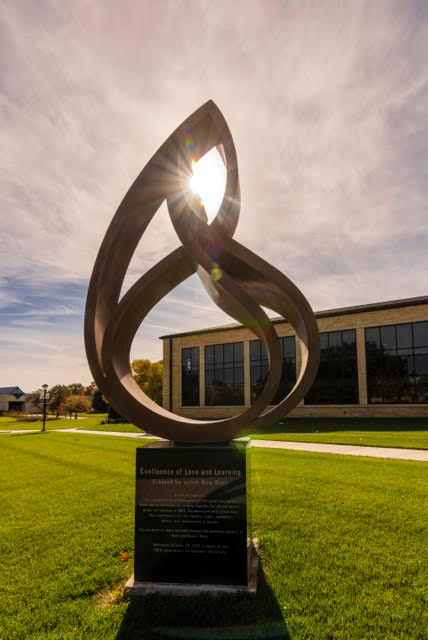 Confluence of Love and Learning  2015, bronze, 12 feet  Washburn University 1700 SW College Ave Topeka, KS
