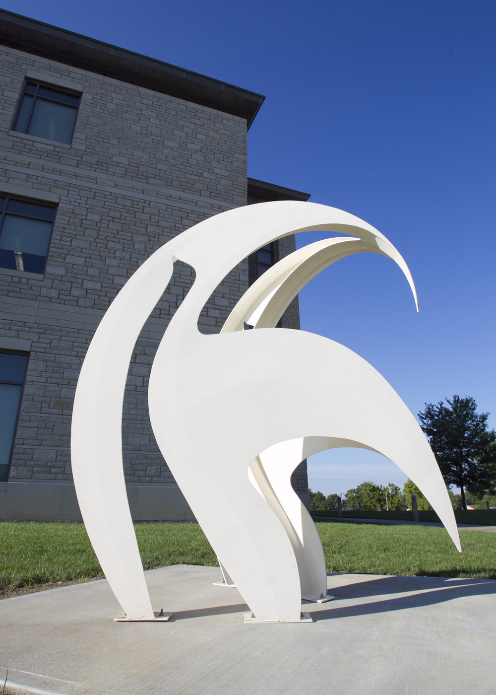 Fantasy  1985, painted steel, 9.5 x 8 x 6 feet  Installed in 2011 at University of Central Missouri, Warrensburg, MO