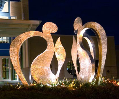 L'Chaim: To Life  2005, stainless steel, 9x17 ft (three parts)  The Lewis and Shirley White Theatre Jewish Community Center of Greater KC 5801 W 115th Street Overland Park, KS