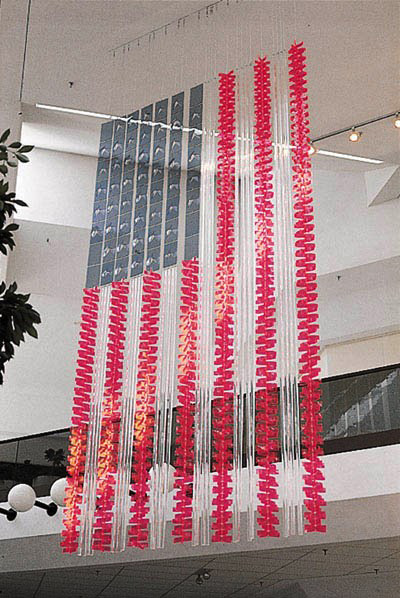 Flag: 1976  1975, 1,748 pieces of acrylic, 20x10.5x.5 ft  Originally installed in 1975 at Oak Park Mall Overland Park, KS  An official bicentennial project of the state of Kansas