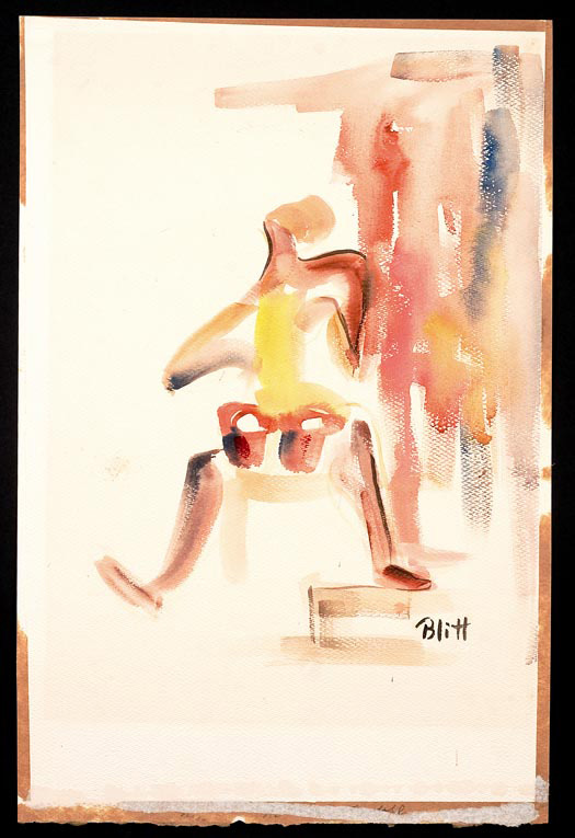 Bongo Player  1951, watercolor on paper, 26x19 in