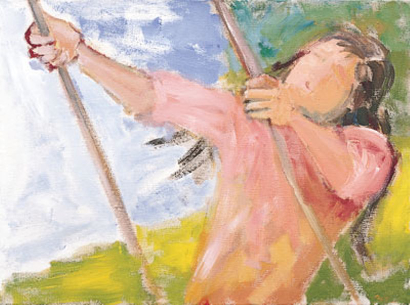 Connie Swinging 1965, acrylic on canvas, 11x16 in