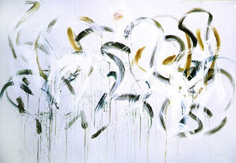 Dancing Waters III  2001, acrylic-oil on canvas, 67.5x100 in