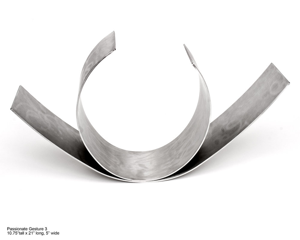 Passionate Gesture III  2005, stainless steel, 10.75x21x5 in