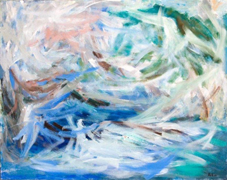 Sea Gulls and Ocean II 1964, acrylic on canvas, 41x48 in