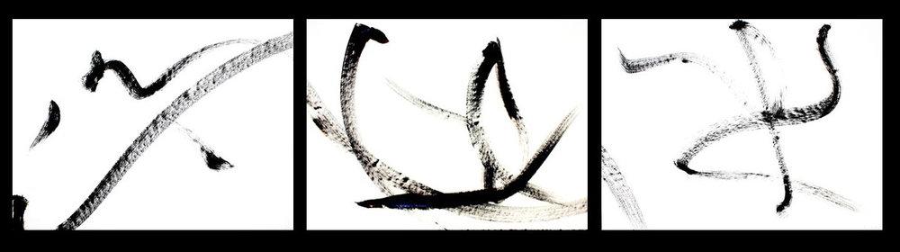 Stravinsky VI  2002, acrylic on paper - triptych, 22x90 in