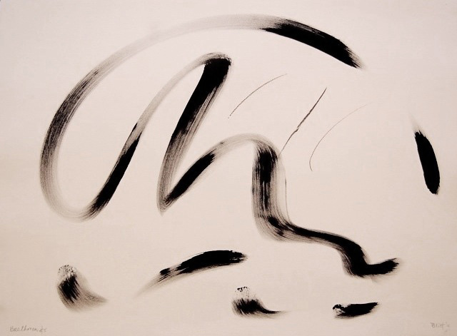 Beethoven's Fifth IV  2011, ink and conte on paper, 22x30