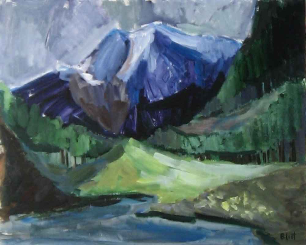 Maroon Bells  1960, acrylic on masonite, 24x20 in