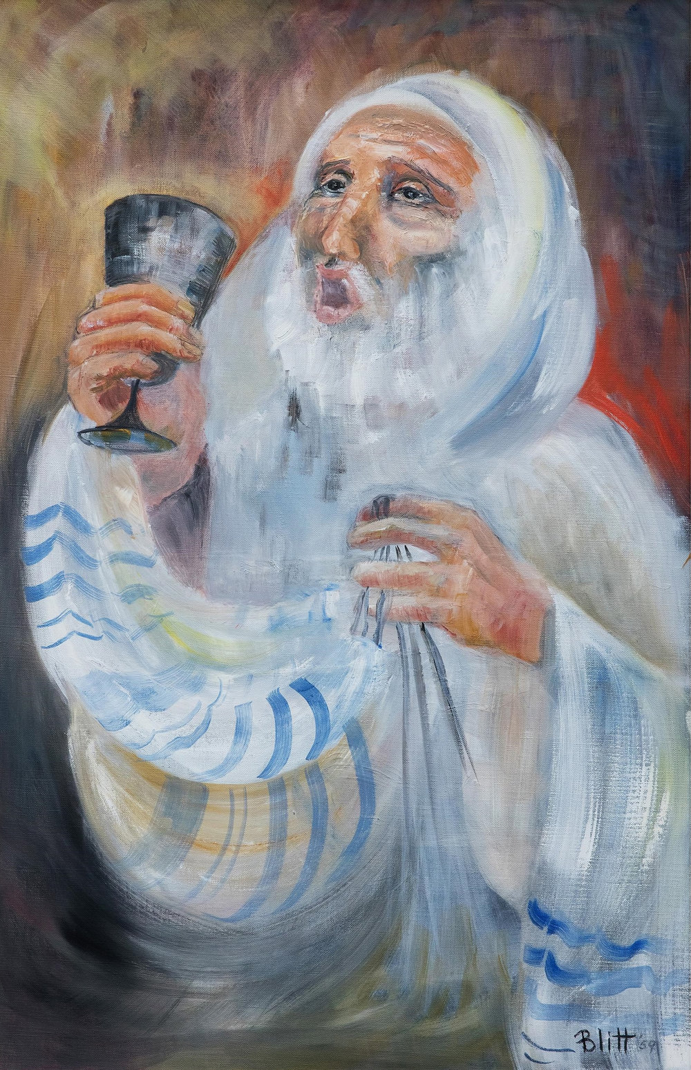 Kiddush  1959, oil on canvas, 32x20 in