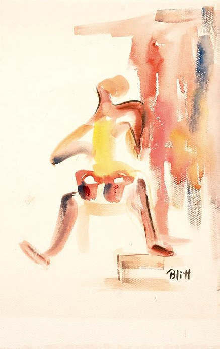 Bongo Player 1951, watercolor on paper, 18x12 in