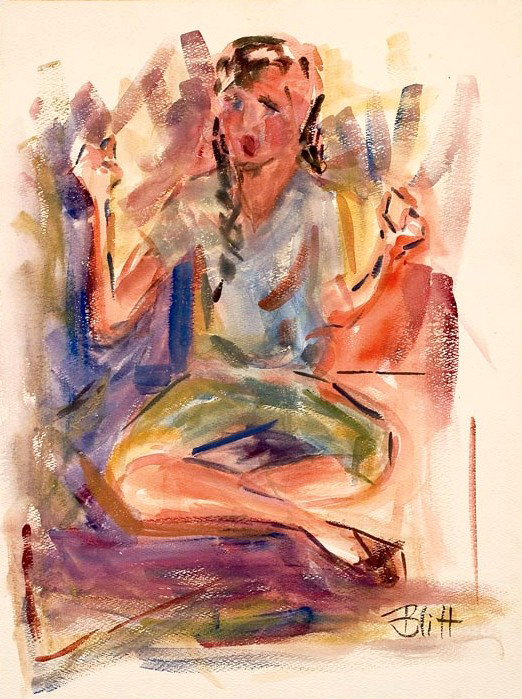 I've Got Rhythm  1951, watercolor on paper, 19x14 in