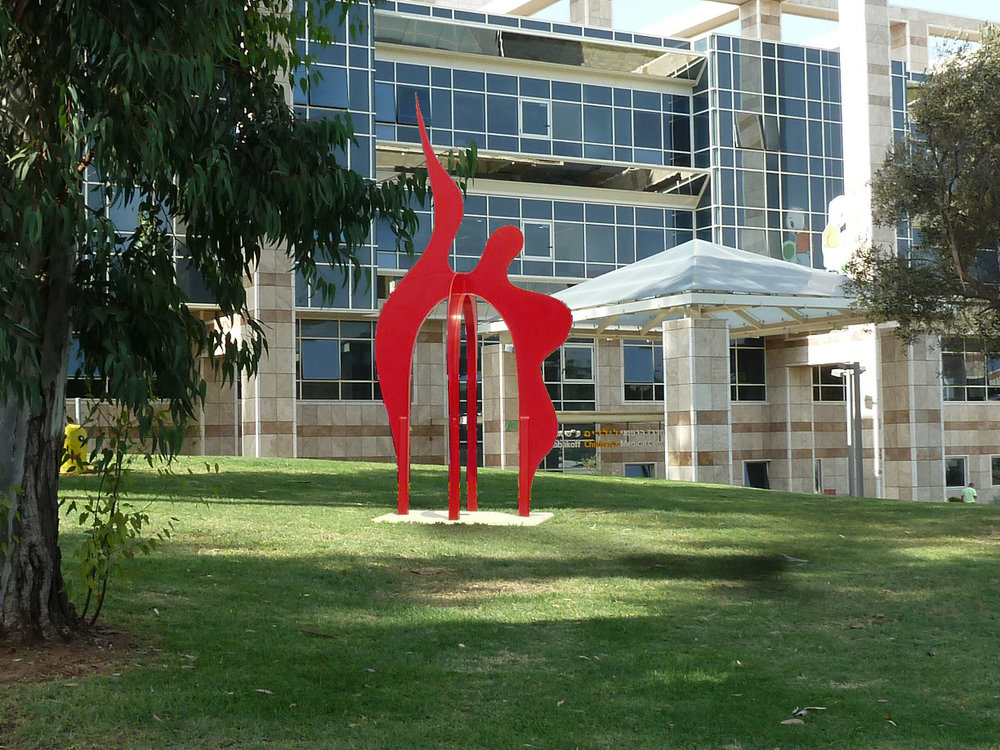 Nessie  2014, painted steel, 16x8x8 ft  Kaplan Medical Center Rehovot, Israel