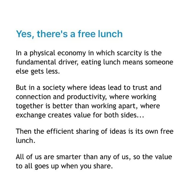 The value goes up when you share. Seth Godin