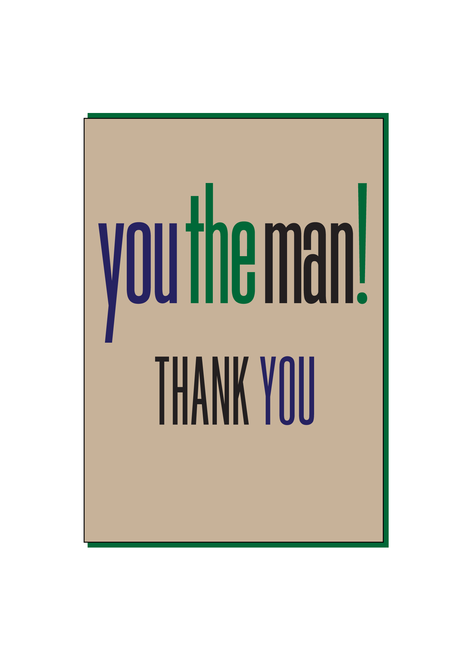 Manly Thank You Card Social Butterfly Designs