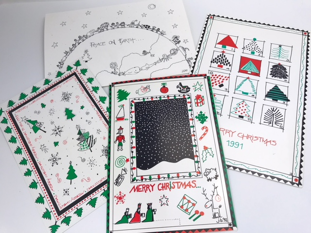 A little sampling of some of my hand drawn Christmas cards from the 90s....