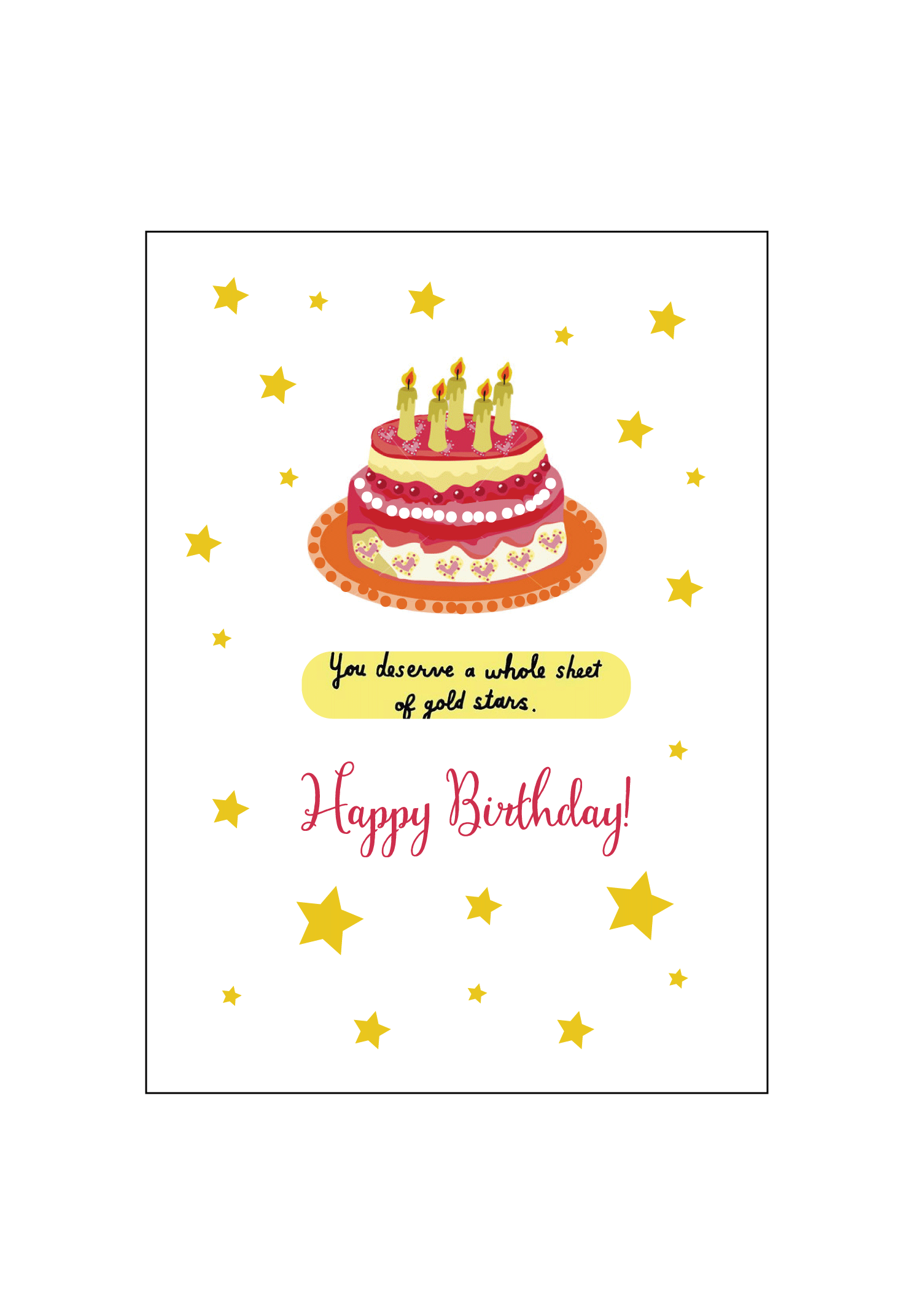 Gold Star Birthday Card Set Social Butterfly Designs