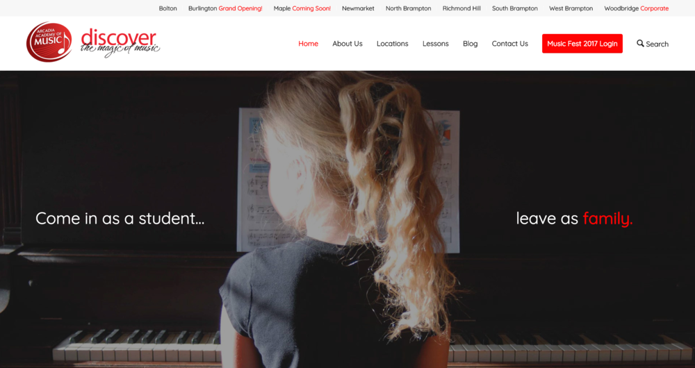 Arcadia Academy of Music (website, social media, graphic design, audio & video)