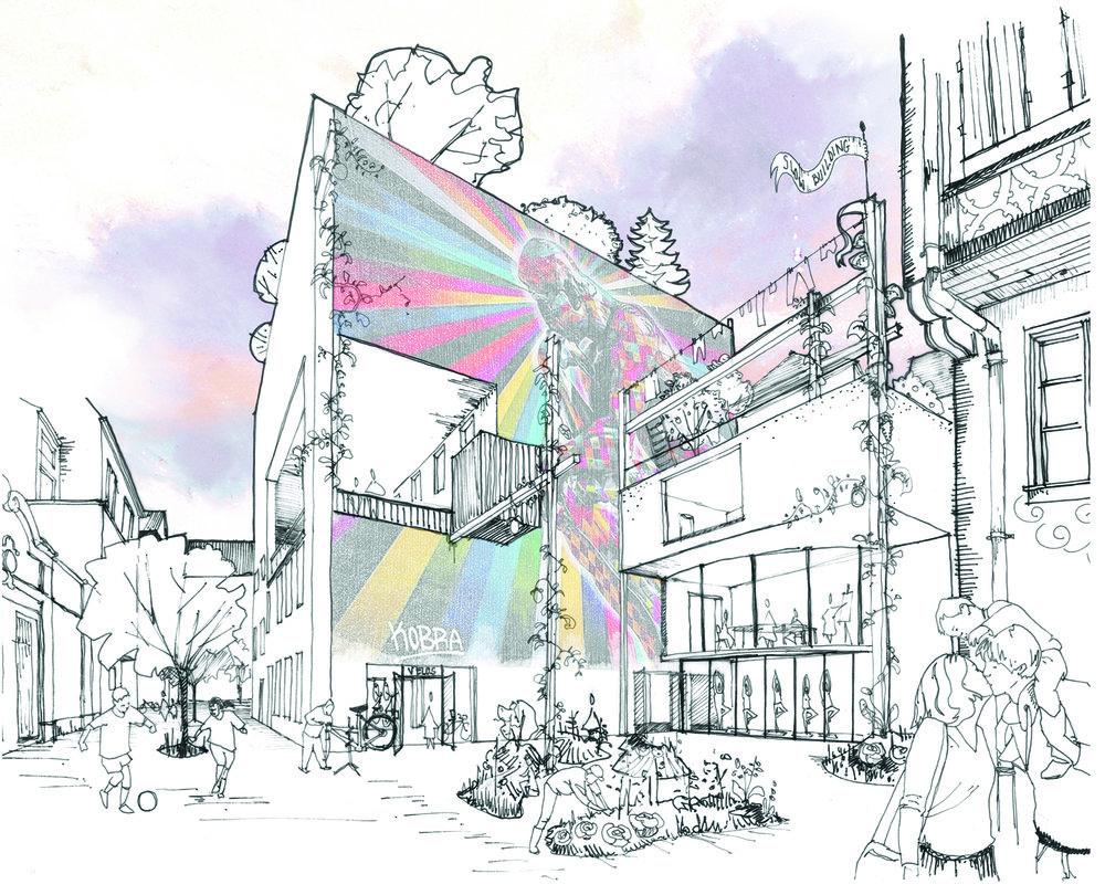Slow Building en extérieur - Point de vue utopique de la rue Sainte-Hélène